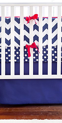 New Arrivals Crib Bed Set, Navy with Red Trim