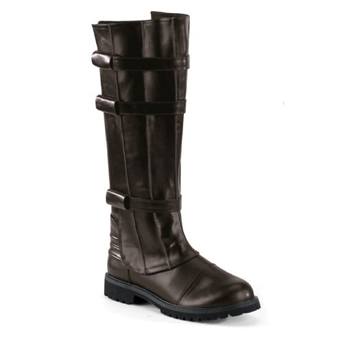 Brown Knee High Boot Strap Detail Gothic MENS