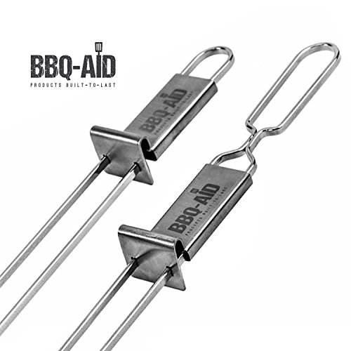 Premium Barbecue Skewers - Double Pronged, Quick Release Stainless Steel - Shish Kabob, Shrimp, Meat Chicken, Veggies & More - By BBQ - Aid (6 Pack)