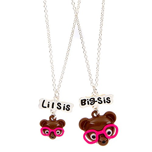 [Claire's Accessories Girls Big Sis Lil Sis Teddy Bears with Glasses Pendant Necklaces] (Lil Teddy Bear Costume)