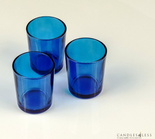 Blue Glass Votive Candle Holders (Set of 12)