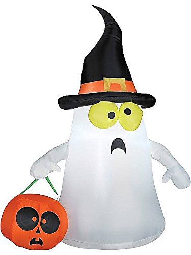 Outdoor Ghost with Witch Hat Standard