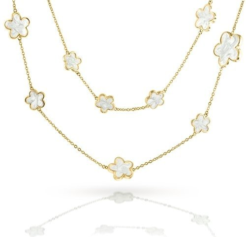 Mothers Day Gifts Bling Jewelry Gold Plated White Mother of Pearl Style 5 Leaf Clover Necklace 42in