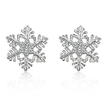 k design snowflake stud earrings co uk clothing