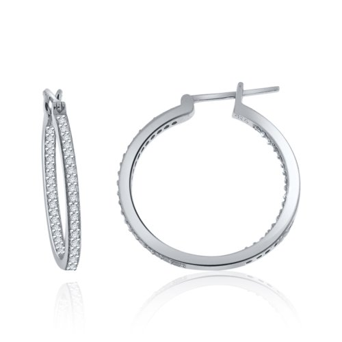Sterling Silver in & Out Simulated Diamond Hoop Earrings