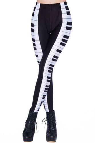 Women'S Designed Digital Print Piano Keyboard Pattern Sexy Stretch Leggings front-652833