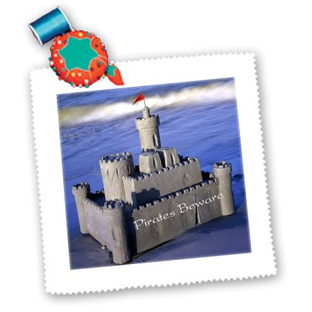 Qs_174394_4 Florene - Childrens Art Iii - Image Of Sand Castle With Pirates Beware - Quilt Squares - 12X12 Inch Quilt Square front-285309