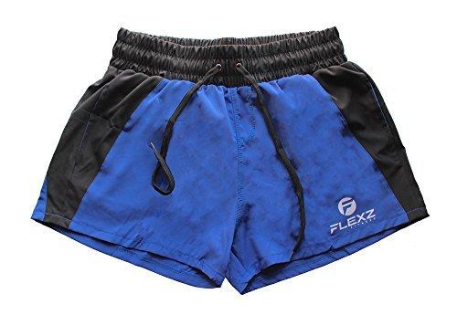 Pantaloncini da uomo per bodybuilding, rugby, nuoto, per evidenziare i muscoli, stile rétro, blu, L
