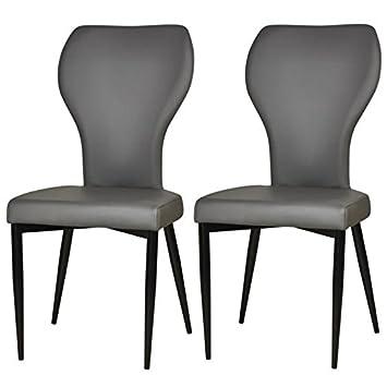 VICTORIA Lot de 2 chaises de salle a manger pieds métal noir - Revetement simili gris - Style contemporain - L44 x P55 cm