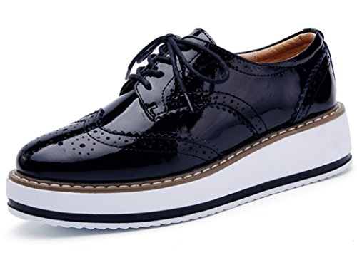 DADAWEN Women's Platform Lace-Up Wingtips Square Toe Oxfords Shoe Black US Size 8