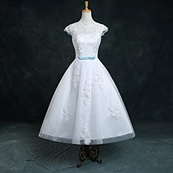 Honey Qiao Vintage Spots 1960S White Wedding Dresses Tea Length Bridal Gowns