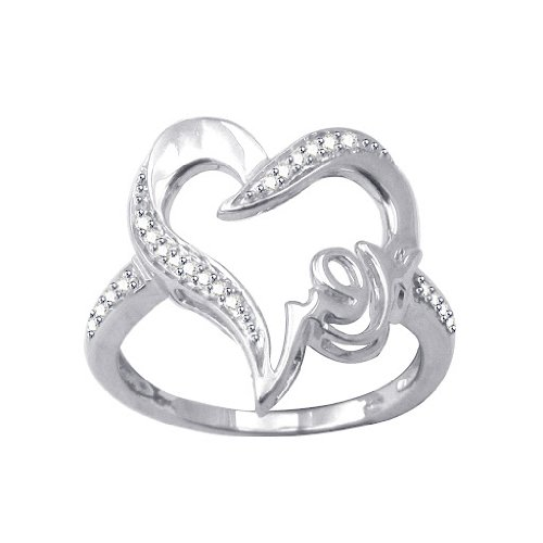 1/10 ct Natural Diamond Platinum Plated Sterling Silver Mom Heart Ring