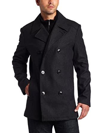Kenneth Cole Reaction Mens Plush Peacoat With Bib Black Large