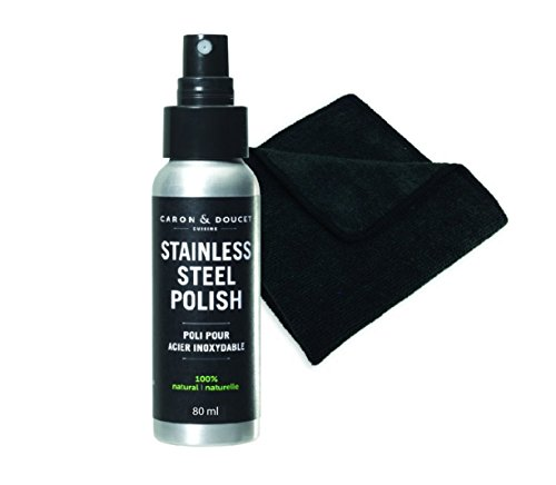 Caron & Doucet - 100% Natural Stainless Steel Polish Bundle: 2 Items; 1 Stainless Steel Polish, 1 Black Microfiber Cloth