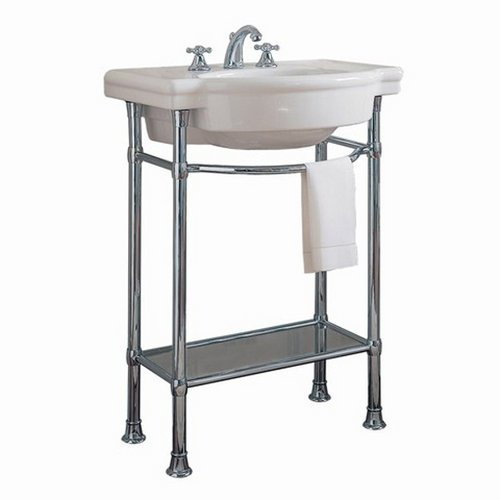 American Standard 0282.008.020 Retrospect Pedestal Console Sink Top With 8-Inch Faucet Spacing, White front-93379