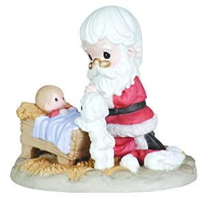 "Precious Moments Kneeling Santa And Manger Figurine ""How Great Thou Art"""