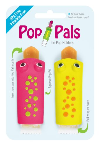 Pop Pals Ice Pop Holders, 2 Pack, Pink/Yellow (Discontinued by Manufacturer)