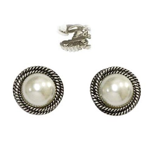 Silvertone Designer Faux Pearl Clip On Earrings Fashion Jewelry