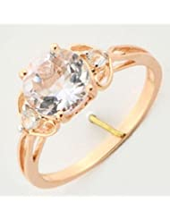 PINK AMETHYST 1.97 CARAT & WHITE TOPAZ RING IN ROSE GOLD PLATED 925 STERLING SILVER