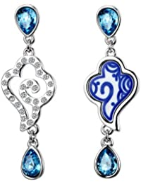 Yellow Chimes Swarovski Elements Blue Crystal Dual Pattern Designer Earrings For Women And Girls