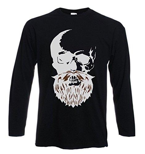 t-shirt manica lunga humor, beard skull, teschio con barba - S M L XL XXL uomo donna bambino maglietta by tshirteria