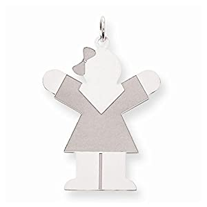 Sterling Silver Hugs Kid Girl in Dress Charm Pendant