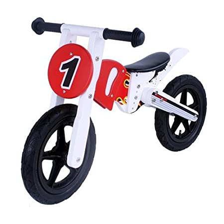 12 pouces draisienne Moto en bois rouge / blanche vélo dŽapprentissage