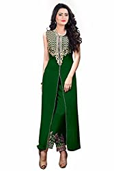 Zeel Fashion Women's Georgette Unstitched Dress Material (zf21_Green_Free Size)