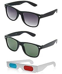 Hrinkar Wayfarer Grey Lens Black Frame, Wayfarer Green Lens Black Frame & Paper 3D Glass - HCMB253