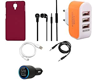NIROSHA Cover Case Car Charger Headphone USB Cable Charger for Xiaomi Mi4 - Combo