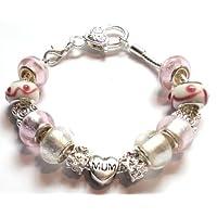 Mum Pink Pandora Style Charm Bracelet 20cm - Ideal Birthday Present
