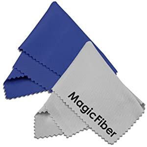 (2 Pack) MagicFiber Microfiber Cleaning Cloths - For Tablets, Lenses, and Other Delicate Surfaces (1 Blue, 1 Grey)