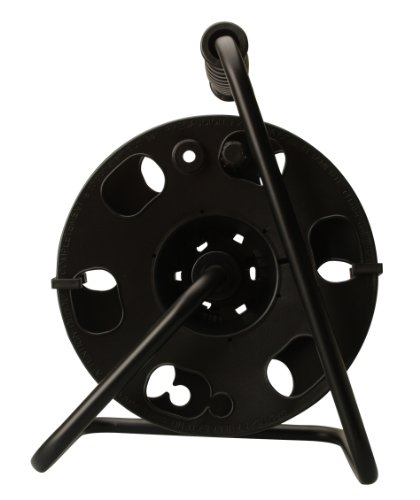 Woods 22849 Cord Reel with Metal Stand, Black, Holds up to 150-Feet 16/3 AWG