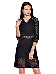 IKnow Women's Fit and Flare Black Dress