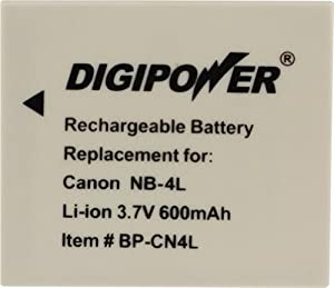 Digipower BP-CN4L Replacement Li-Ion Battery for Canon NB-4L for use with Canon SD1400IS, SD940IS, SD960IS and other Select Canon Digital Cameras
