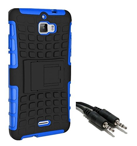 Chevron Tough Hybrid Armor Back Cover Case with Kickstand for Coolpad Dazen 1 with Aux Cable (Blue)