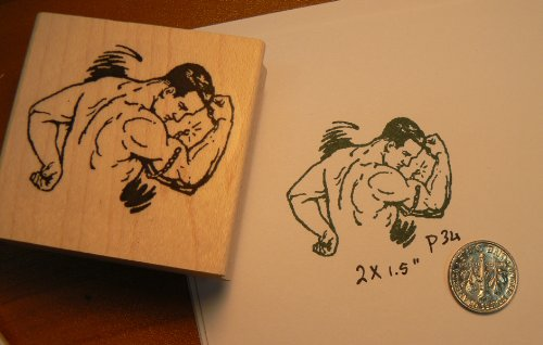 Muscle Man Retro Style Rubber Stamp P34