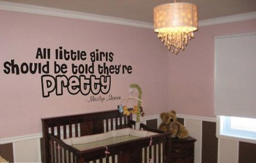 "Marilyn Monroe ""All Little Girls Should Be Told They're Pretty"" Quote - Vinyl Wall Words Lettering Decal Sticker"