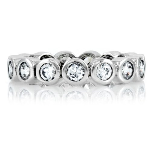 Emitations X102-R0447SC-5 Joys Sterling Silver Eternity Band- Clear CZ - Size 5