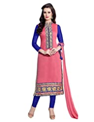 Surat Tex Pink Color Casual Wear Embroidered Chanderi Cotton Un-Stitched Dress Material-E424DL32RA