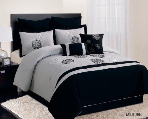Luxury Home 8-Piece Milburn Comforter Set, Queen, Black front-910664