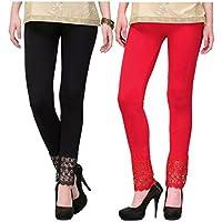 LeeZaro Women's Legging (Pack Of 2) (ETAZ0101_Black Red_Free Size)