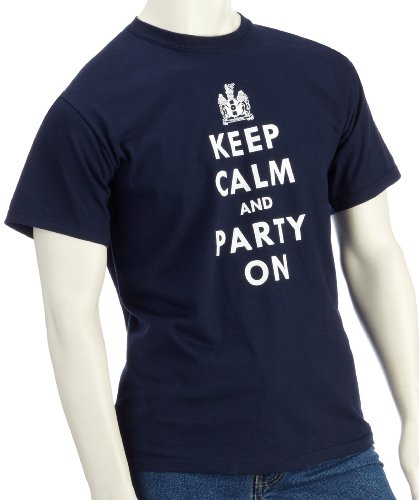 DMC Technics Keep Calm & Party On Mens Navy T-Shirt Small