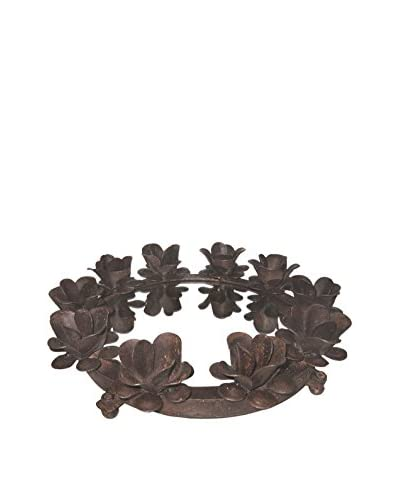 Round Floral Iron Serving Tray