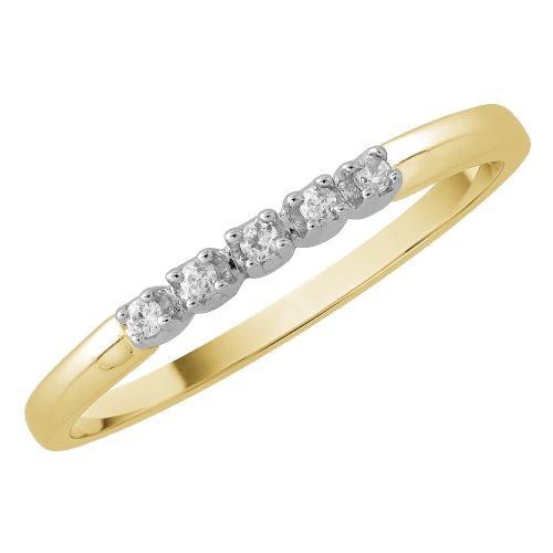9K Yellow Gold 0.05 ct. Diamond Wedding Band