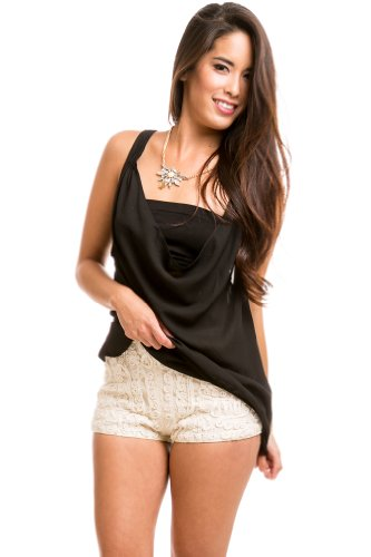 Sheer Draped Camisole in Black