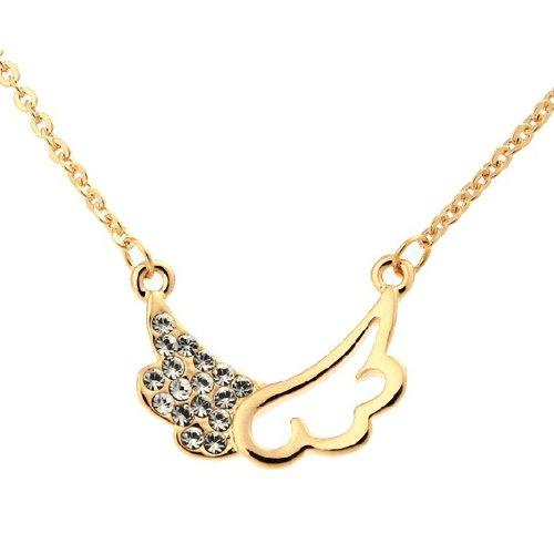 [Lotus] ネックレス ウイング チャーム ラインストーン ウィング ペンダント 翼 / 首飾り