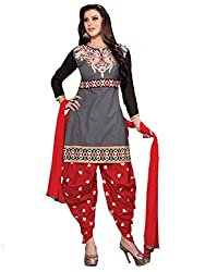 Inddus Grey Colored Embroidered Dress material