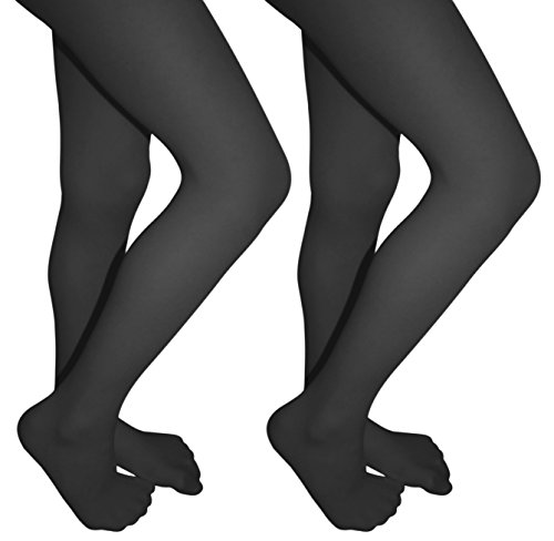 2 Pack of Mod & Tone Maternity Microfiber Opaque Tights, Wide Waist Band (M/L, Gray with Black Top)