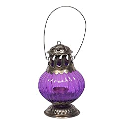 Home and Bazaar Antique Copper Finish Lantern - Purple